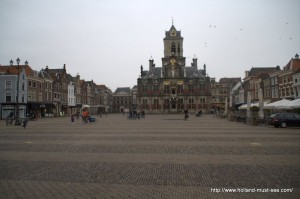 Markt square in Delft with the Town Hall